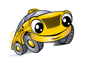 Yellow Cartoon Taxi Smiling - Free Holiday Cab Ride Home from Martin, Harding & Mazzotti 1800law1010