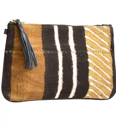 Kaya mud cloth clutch