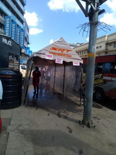 Coronavirus sanitisation booth in Nairobi CBD