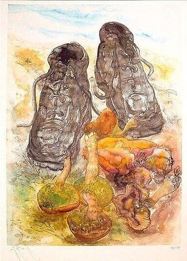 """""""Pilze und Schuhe"""" - Limitierte Druckgrafik von Günter Grass"""