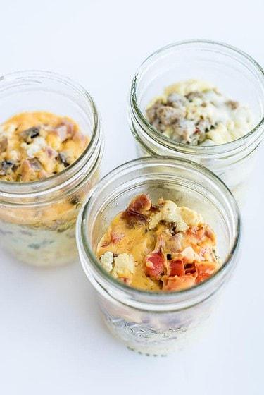 Breakfast Casserole layered in mason jar