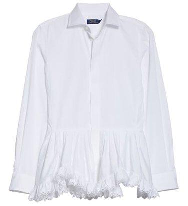 Polo Ralph Lauren ruffle hem shirt | 40plusstyle.com