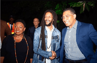 "Minister of Culture, Gender, Entertainment and Sport Hon. Olivia ""Babsy"" Grange, GRAMMY nominated Julian Marley and Jamaica's prime minister Hon. Andrew Holness"