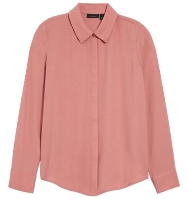 Halogen hidden button blouse | 40plusstyle.com