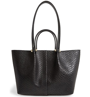AllSaints Allington Small Snake Embossed Leather Tote | 40plusstyle.com