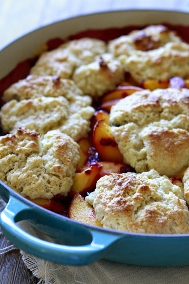 Peach & Mixed Berry Cobbler with Sour Cream Biscuits
