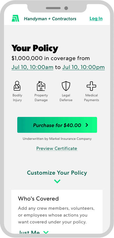 Thimble Insurance's mobile policy builder screen