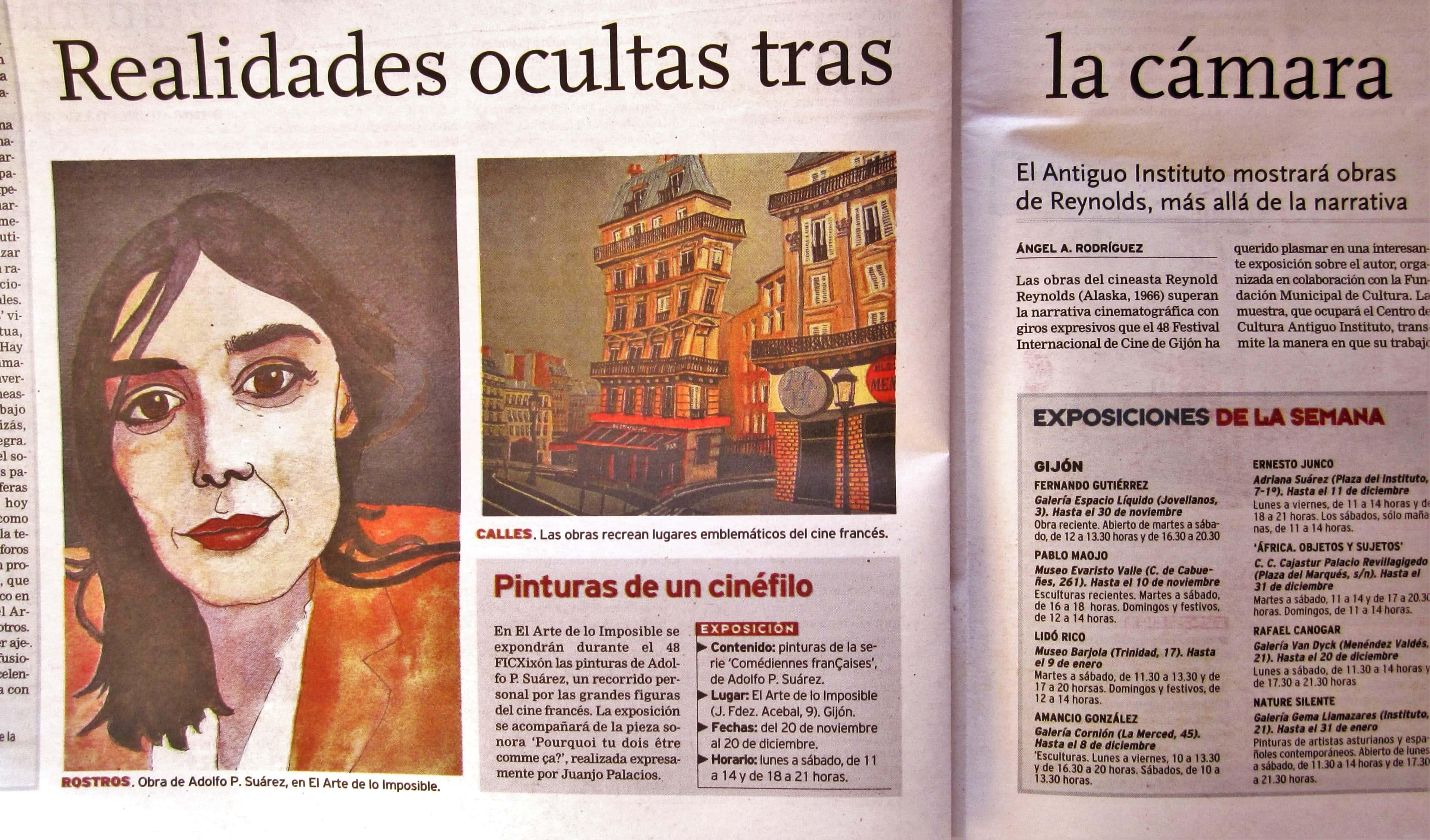 """""""Realidades ocultas tras la cámara"""". Exposición """"Comédiennes françaises"""". Galería el Arte de lo Imposible, 2010."""