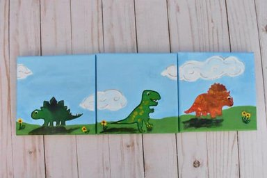 complete dinosaur painting tryptic
