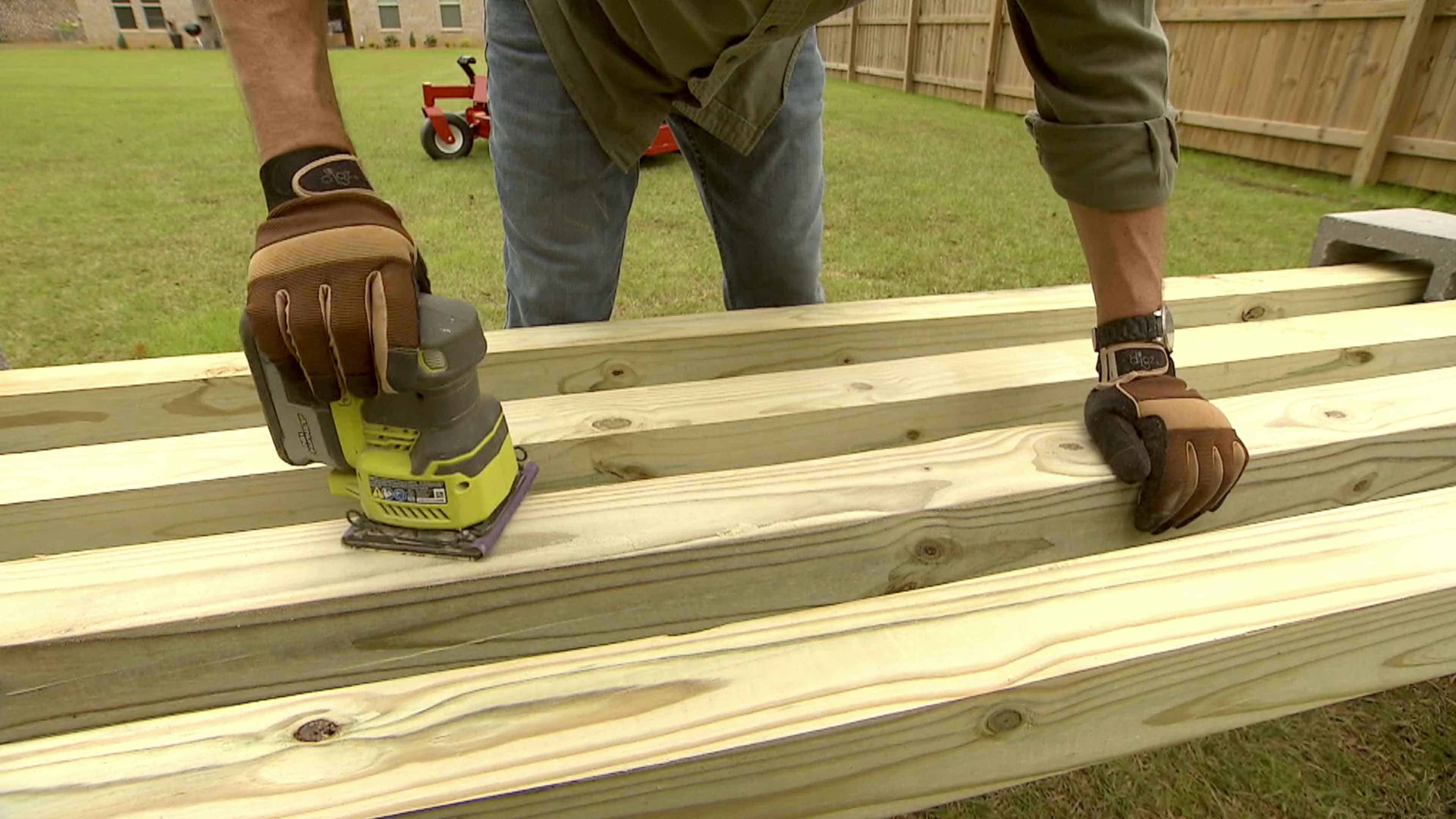Cinder block bench timbers can be left natural or you can paint/stain.