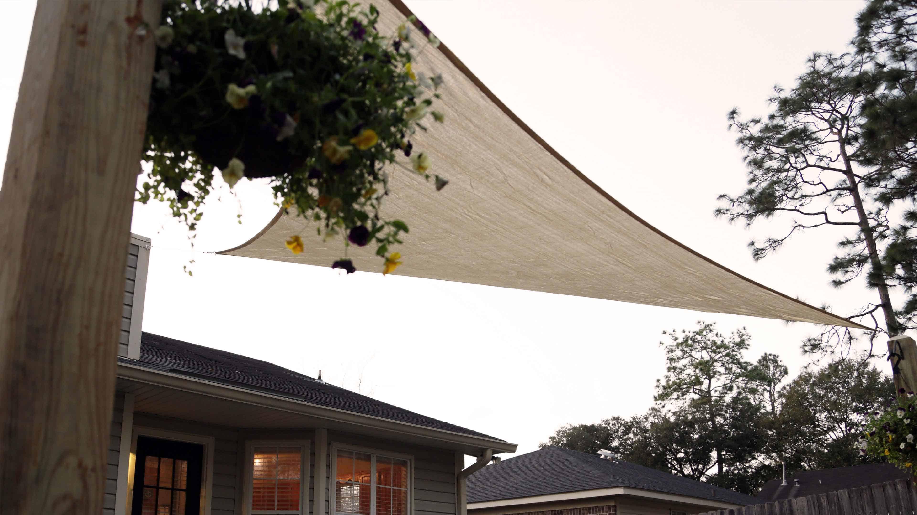Shade sails provide inexpensive shade and UV protection