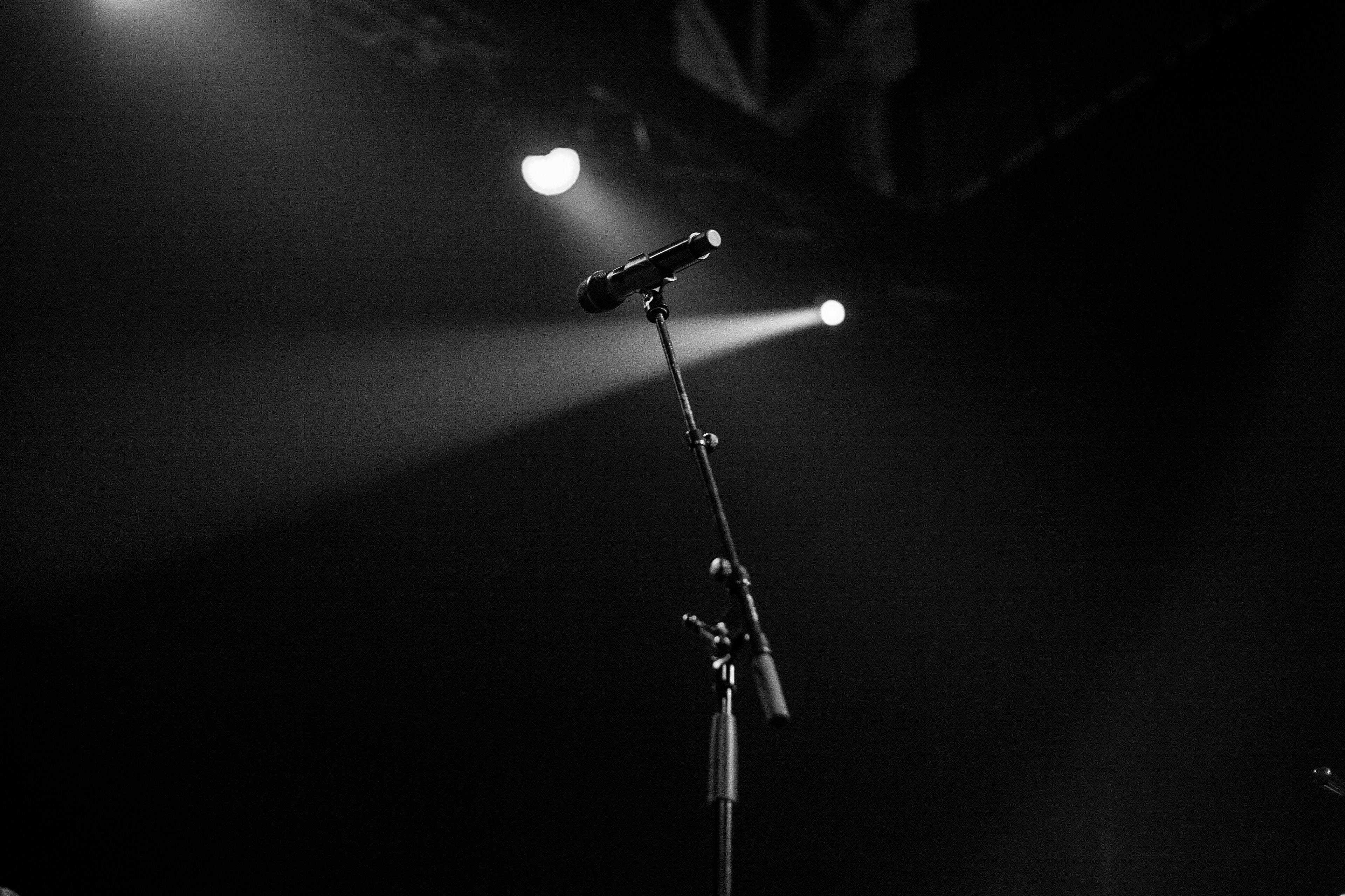 mic, lights, stage