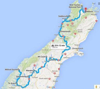 South Island NZ Road Trip Route