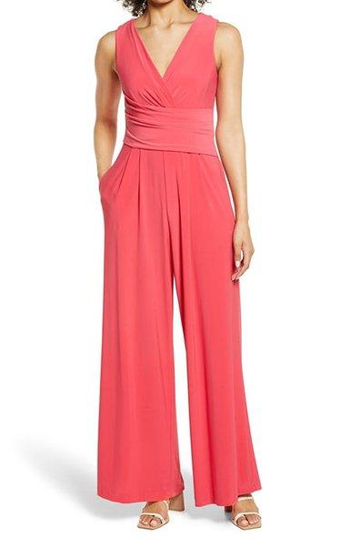 Eliza J ruched waist jumpsuit | 40plusstyle.com