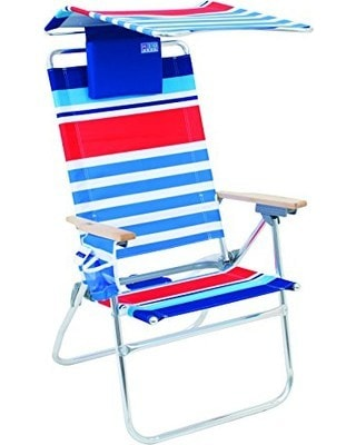 Comfortable Beach Chair with Canopy and Pillow