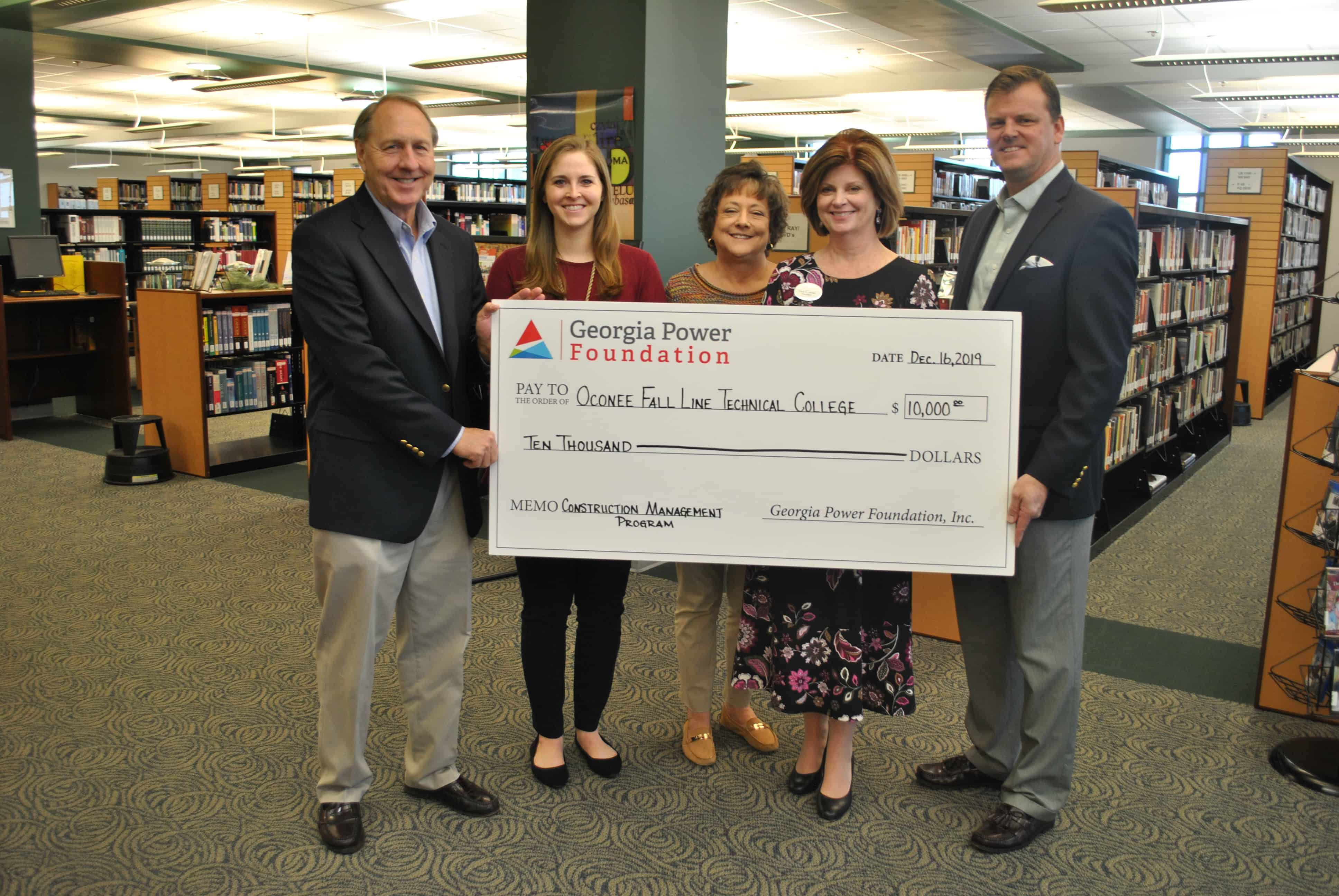 The Georgia Power Company recently donated $10,000 to OFTC's South Foundation. Pictured, L-R: Jay Studstill, Georgia Power Company Southwest Region Area Manager; Kathryn Willcox, President of OFTC's South Foundation; Kathy Aaron, OFTC's Director of Institutional Advancement; Erica Harden, OFTC President; and Eric Smith, Georgia Power Company Southeast Region Local Manager.