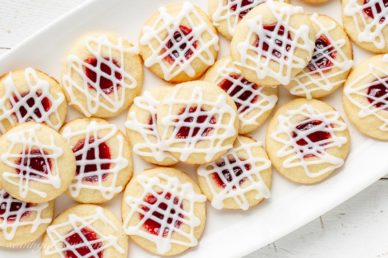 A platter of raspberry jam filled cookies