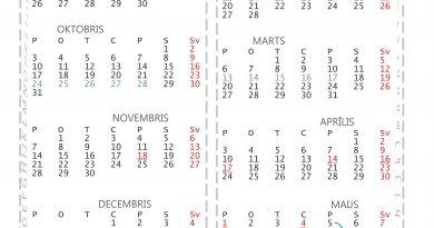 Mācību gada kalendārs 2016./2017. gadam