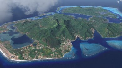 Aerial view of Huahine in French Polynesia