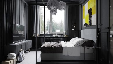 Modern interiors are beautiful. They sports darker colors and warm metals.