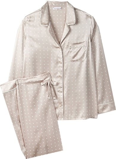 The White Company piped silk spot pajama set | 40plusstyle.com