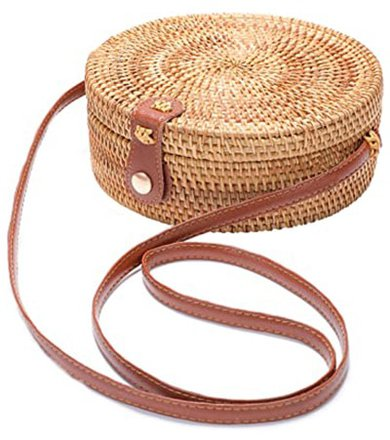 XMLMRY Handwoven Round Rattan Bag | 40plusstyle.com