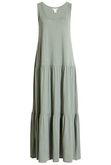 Vestidos de verano para mujeres mayores de 50 años -Vestido maxi escalonado con escote redondo Caslon    40plusstyle.com