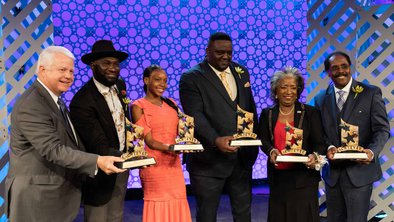 JM Family Enterprises chairman Colin Brown with 2019 African American Achievers Webber J. Charles, Lanaria Johnson (Youth Achiever), Addonis Parker, Jasmin D. Shirley, James Thomas