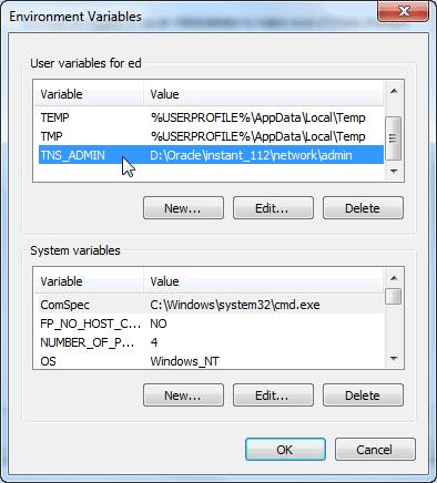 Windows 7 - TNS_ADMIN Environment Variable Entry