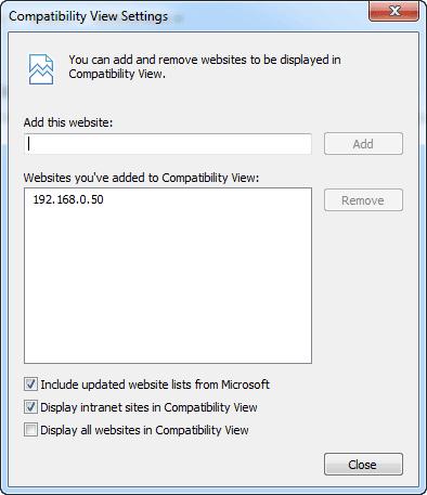 Internet Explorer - Compatibility View Setting