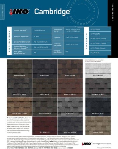 IKO Colour Chart