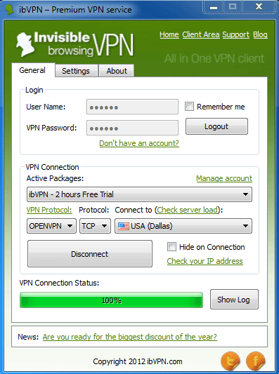 ibvpn desktop software (PC)