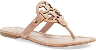 shoes for women with big feet - Tory Burch 'Miller' flip flop   40plusstyle.com