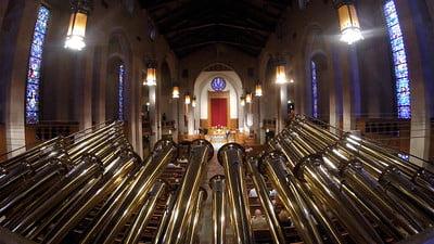 mounted trumpet on pipe organ