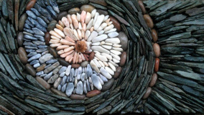 Image: Stone spiral made by mason Johnny Clasper
