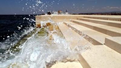 Sea organ with crashing wave