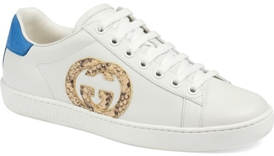 Best designer shoes - Gucci 'New Ace' genuine python logo tennis sneaker | 40plustyle.com