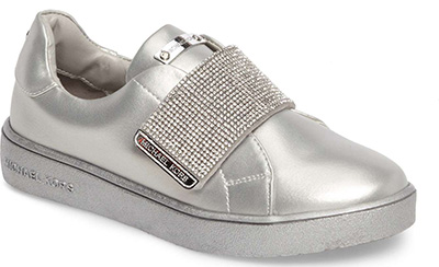 silver slip-on shoes for women over 40 | 40plusstyle.com