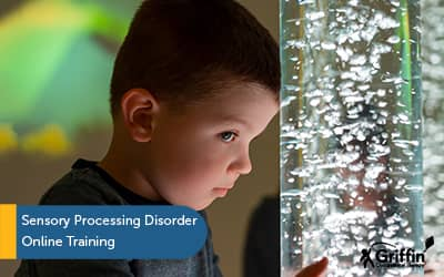 boy with sensory bubble tube text sensory processing disorder training