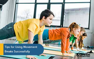 children doing yoga text sensory movement breaks tips for success
