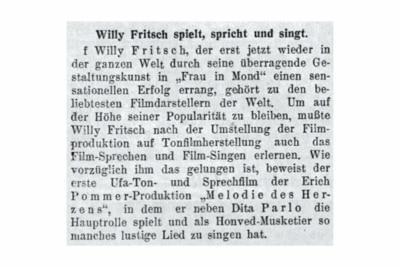 """""""WillyFritsch spielt, spricht und singt"""".Artikel im österreichischen Magazin """"Die Stunde"""" vom 07.12.1929"""