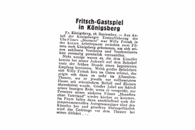 """Willy Fritsch in Königsberg.Artikel im """"Film-Kurier"""" Nr. 219 vim 18.09.1936"""
