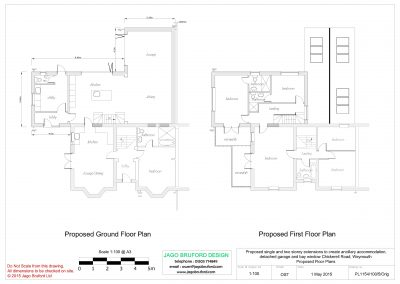 Proposed floor plans of single and two storey extensions creating ancillary accommodation
