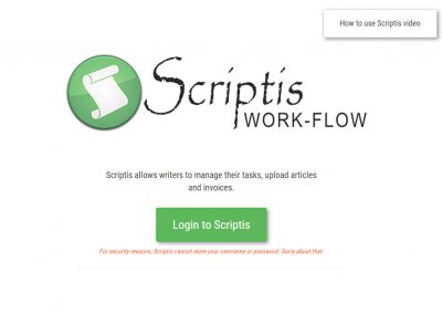 Scriptis – Writer Agency Workflow
