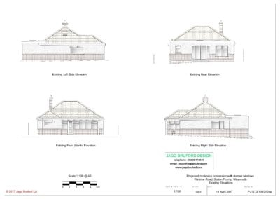 Existing elevations of roofspace conversion with dormer windows