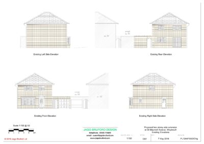 Existing elevations of completed two storey extension creating lounge, utility and bedroom with en suite bathroom
