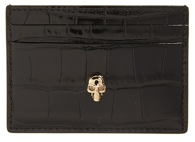 Alexander McQueen croc embossed leather card holder | 40plusstyle.com