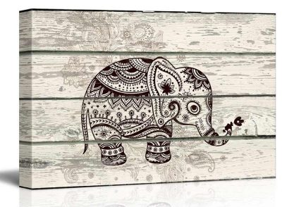 Wall26 - Illustration of a Decorative and Patterned Baby Elephant - Canvas Art Home Decor