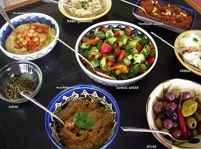 Baba Ganoush, Israeli Salad, Muhammara