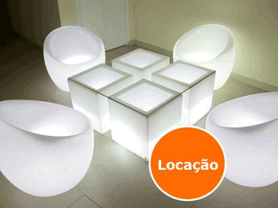 Lounge Mesa Nicho com Poltronas Oca  - Locação 1 Lounge nicho com tampo vidro e poltrona oca